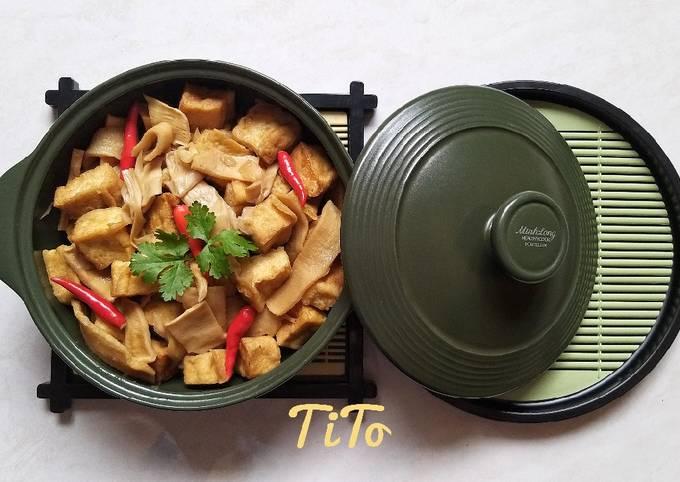Cách Làm Món Măng khô kho đậu hũ và nấm chay ngon