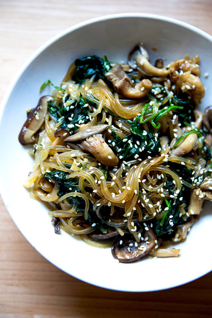 Vegetarian Japchae (Korean Glass Noodles) | Alexandra's Kitchen