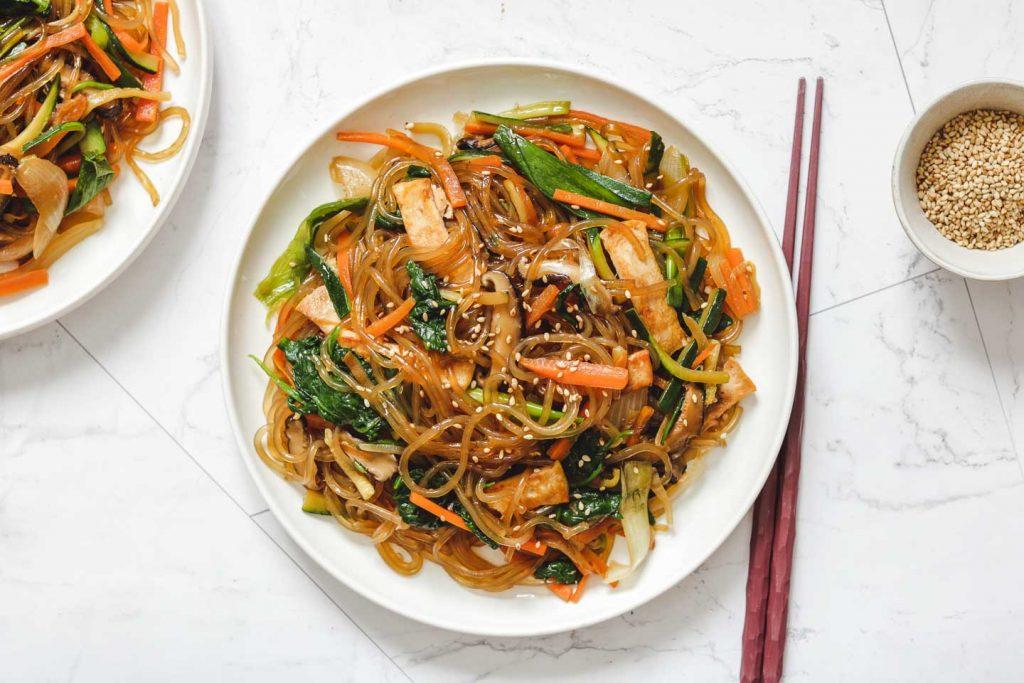 Vegan Japchae (Korean Stir Fried Glass Noodles) - Okonomi Kitchen
